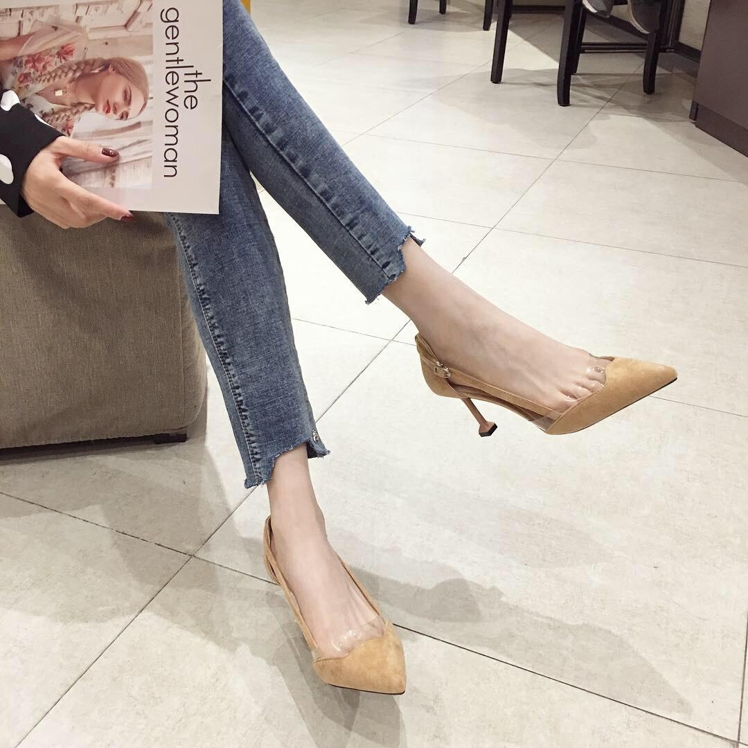Giày Búp Bê cao gót bằng da dành cho nữ  . Thương Hiệu : AINER-CAT