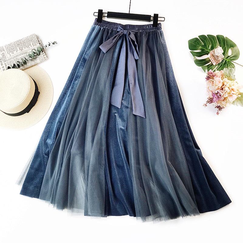 Englard Váy Nhà máy trực tiếp mùa thu và mùa đông phiên bản mới của Hàn Quốc nhung dài váy cao eo nử