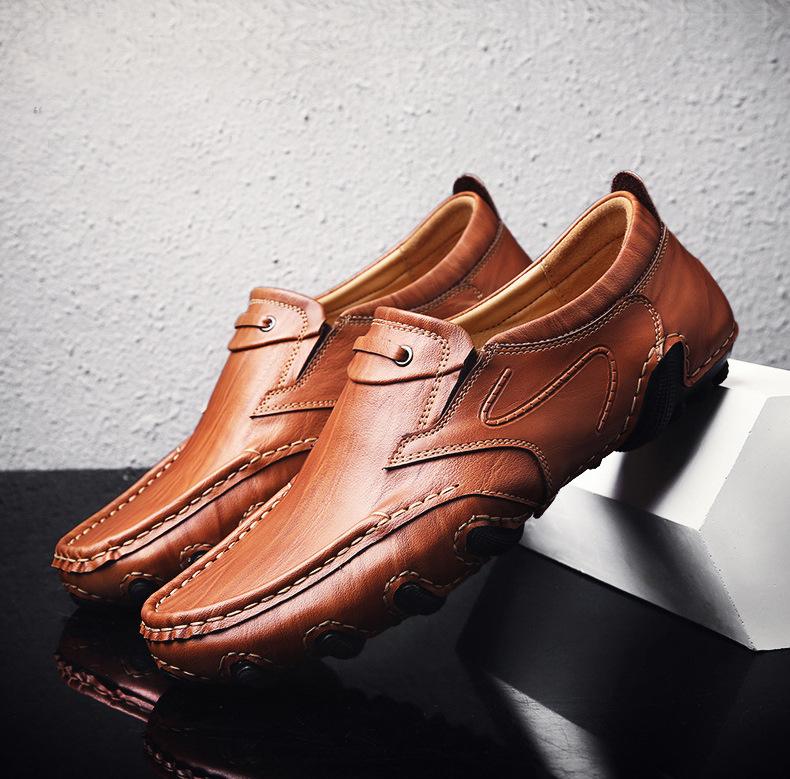 GONGBAN - Giày mọi Da đế thấp , Giày nam bằng da mềm .