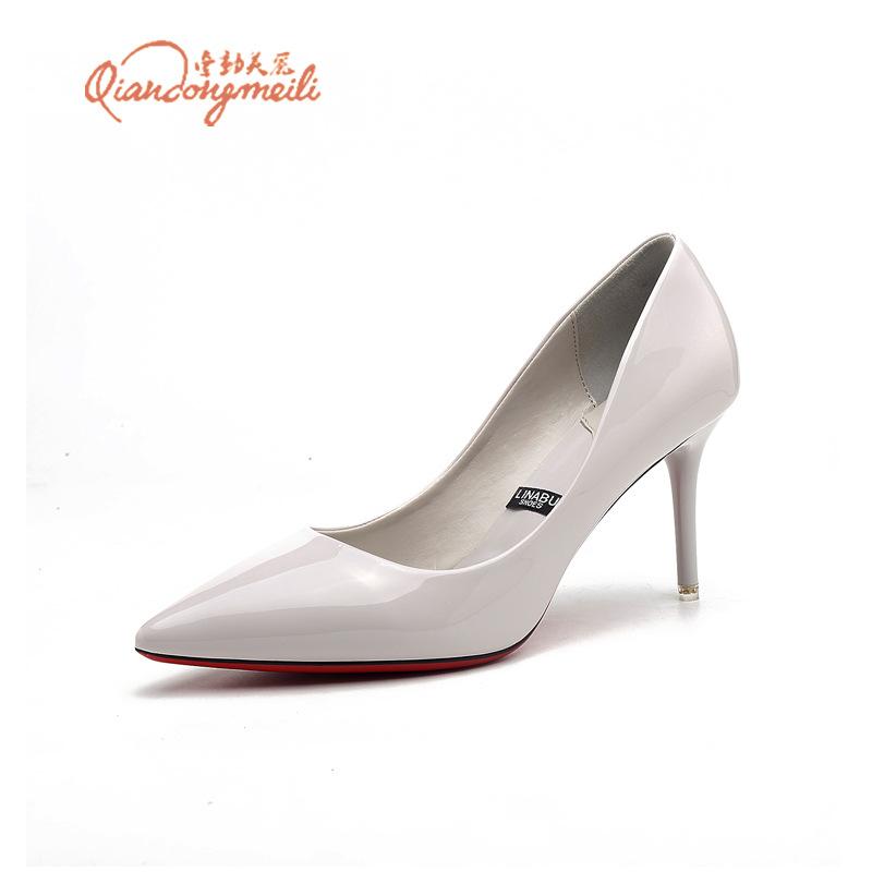 QDML - Giày Búp Bê dạng cao Gót , Nhiều màu , da bóng.