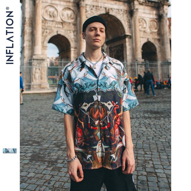 Inflation Áo sơ mi Quần áo nam INF   2019 xuân hè mới thương hiệu thủy triều mới Châu Âu và Mỹ đường