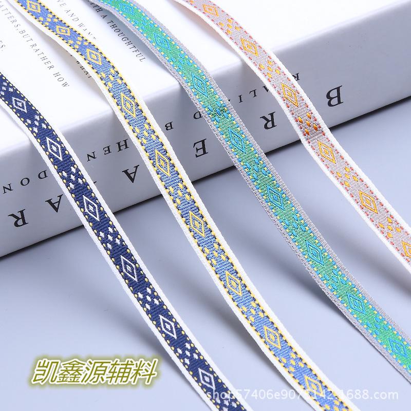KAIXINYUAN đai , dây , chỉ 1cm Jacquard Ribbon Máy tính Jacquard Line Jumper National Wind Diamond S