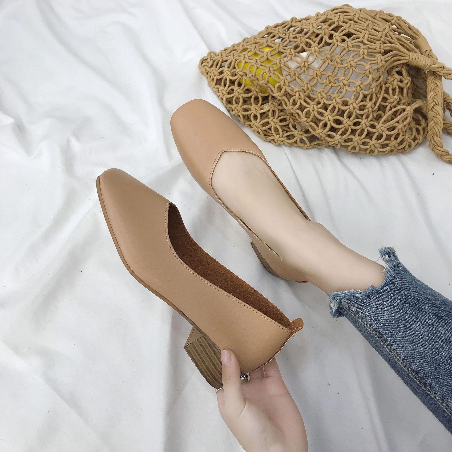 Giày Búp Bê gót vuông dành cho Nữ , Nơi xuất xứ Quảng Châu.