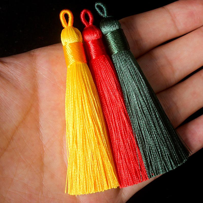 RUNZHEN sợi tua Băng lụa rìa tai kéo vòng tua rua dệt tay kéo vòng tua tua Trung Quốc nút tua nhà má