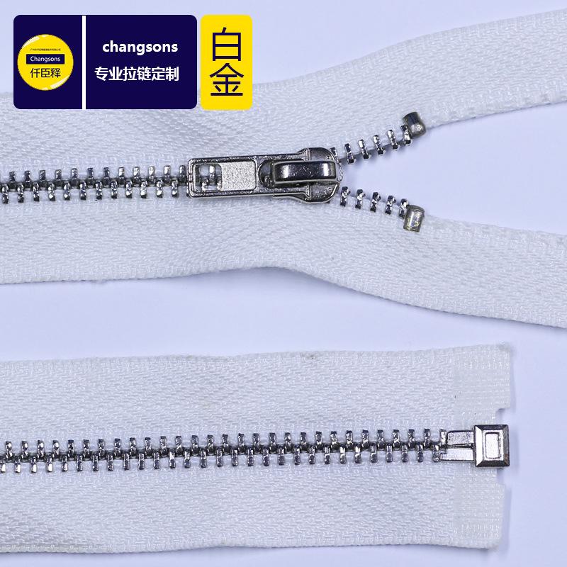 Changsons Dây kéo kim loại Kim loại đốm đen vải trắng bên mạ vàng dây kéo vàng trắng thứ 3 vàng trắn