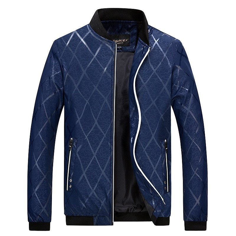 Áo khoác Mùa xuân và mùa thu mới nam cổ áo bóng chày sọc in áo khoác mỏng thanh niên giản dị kích th