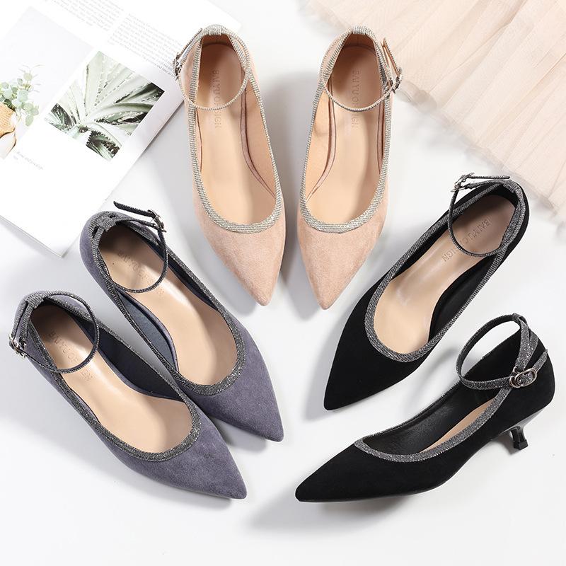 Giày búp bê cao gót dành cho nữ , Hãng : FU , có 3 màu sắc .