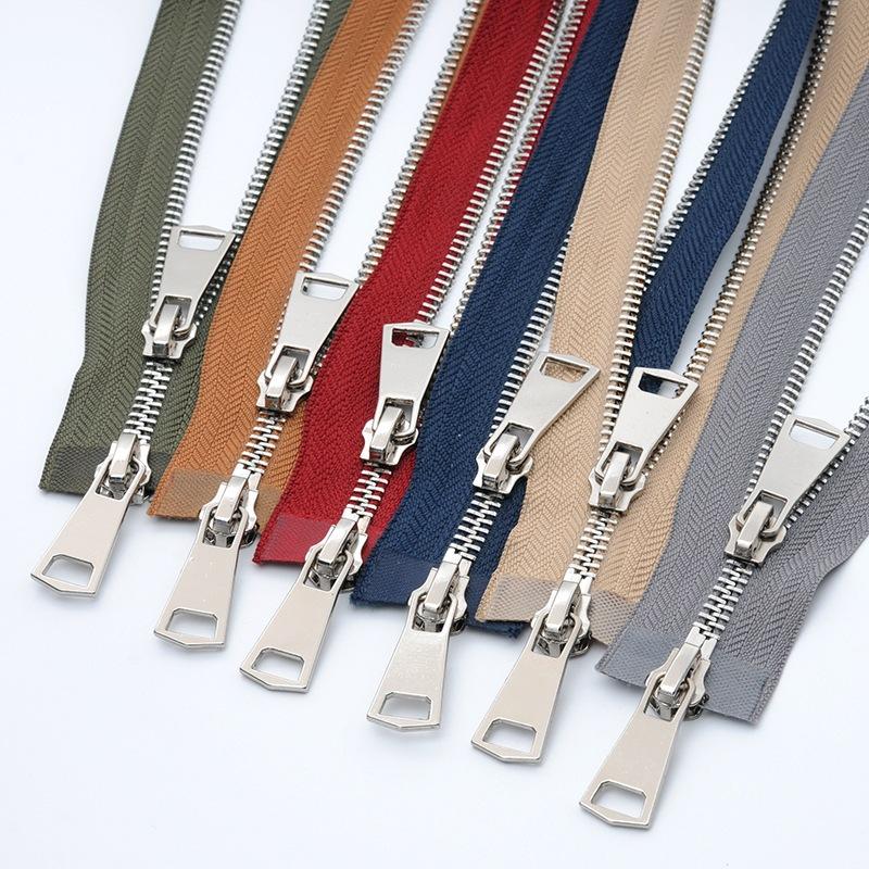 VAB 5 Dây kéo kim loại kim loại dây kéo bạc sáng bạc răng bạc cao cấp xuống áo khoác da sắt dây kéo