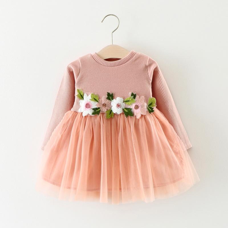 Váy A031 Mùa thu Nhà máy mới Cửa hàng dành cho trẻ em Eo hoa dài tay Váy công chúa Váy bé