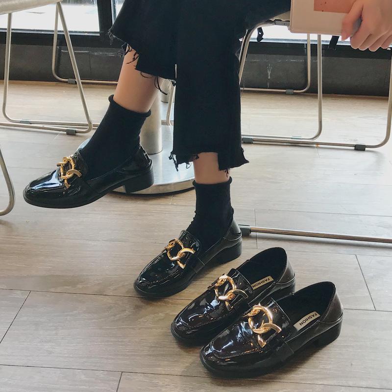 Giày Mọi bằng Da Bóng dành cho Nữ , màu  đen .