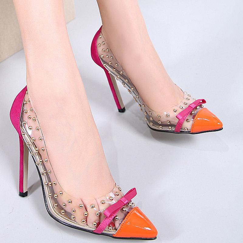 Giày da một lớp Ngoại thương khâu trong suốt đinh tán chỉ giày cao gót cỡ lớn