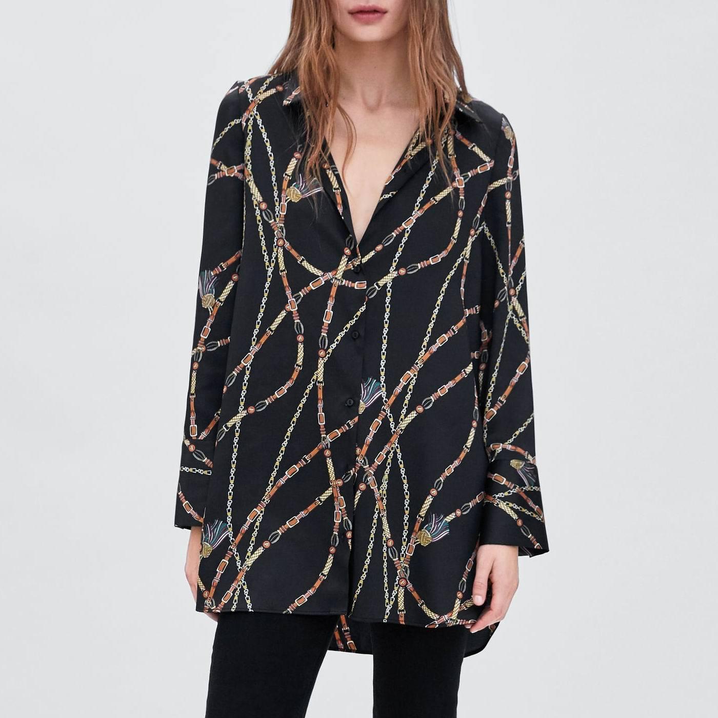 Áo sơ mi nữ châu Âu và phong cách châu Âu 2018 mùa thu mới cung cấp áo sơ mi nữ giản dị in OYK8716
