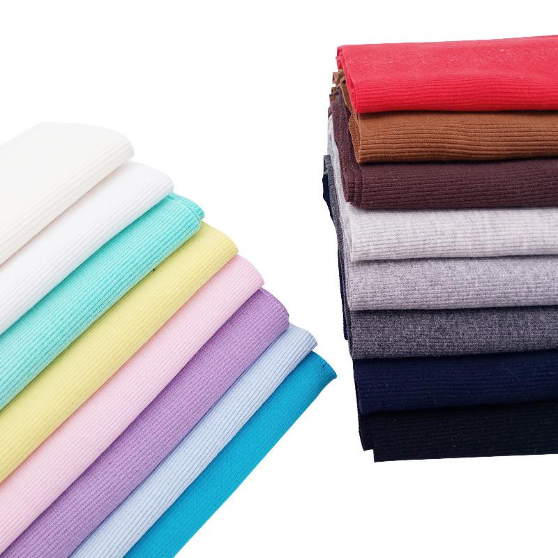 HUFENG Vải Rib bo Bán buôn tại chỗ 21 cotton 2X2 gân kéo vải vest vải sườn vải dệt kim vải sườn