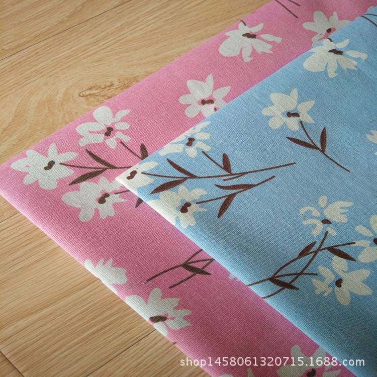 HONGYUN Vải Hemp mộc Nhà máy sản xuất vải lanh in vải lanh DIY nhuộm tay màu xanh đầy đủ hoa trắng