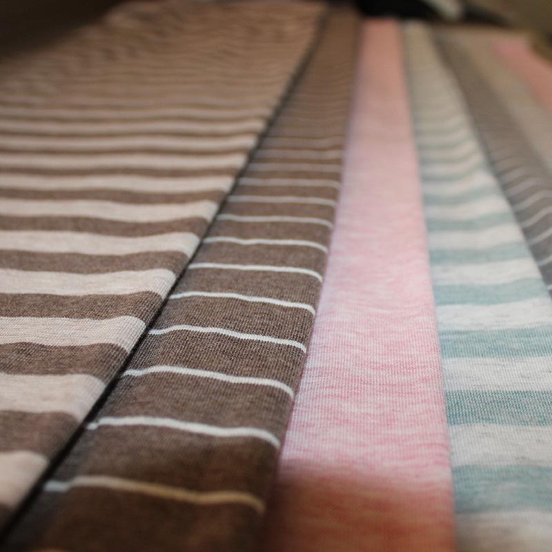 QINGJIUFANG Vải Jersey Vải cotton Nhật Bản đan đan sọc sọc áo sợi kéo sợi bông tại chỗ bán buôn