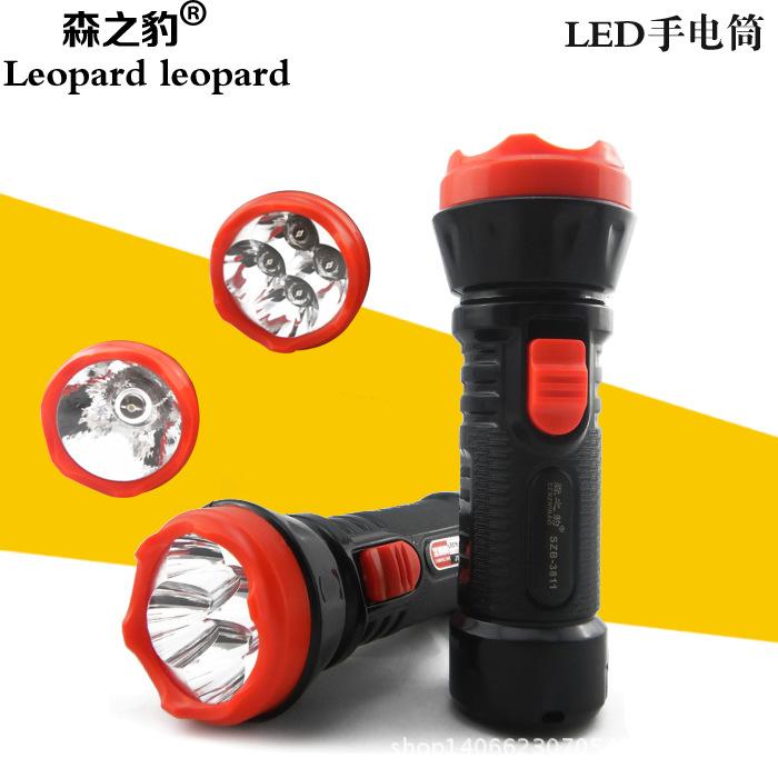 SENZHIBAO Đèn điện, đèn sạc Nhà máy sản xuất đèn pin sạc LED4 đèn pin nhựa 0,5W Đèn đơn 8811 đèn pin