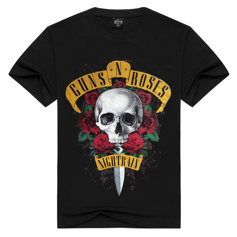 METAL KING Áo thun Súng nổ N 'Hoa hồng Súng ban nhạc rock Mỹ và áo thun ngắn tay in hoa hồng