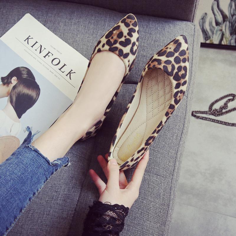 Giày búp bê bằng da mềm kiểu da báo dành cho Nữ , Hiệu : MQBL