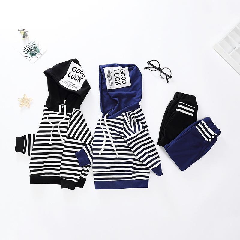BEIBEIGU Phong cách Hàn Quốc Mùa xuân và mùa thu 2019 Quần áo trẻ em Hàn Quốc áo cotton sọc đơn giản