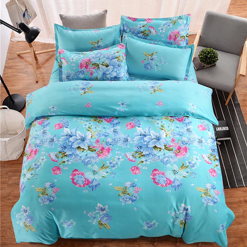 XUANYAN Thị trường đồ bộ Dày chà nhám bốn mảnh vải lanh mới sản phẩm vỏ chăn bốn mảnh phiên bản Hàn