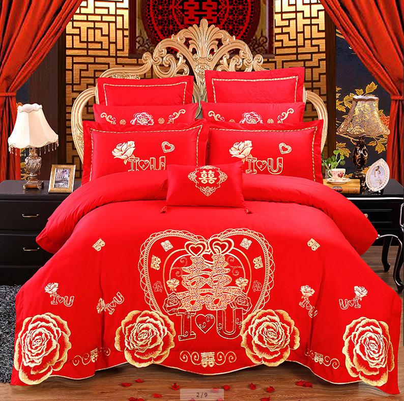Sfour Thị trường đồ bộ Áo cưới thêu bốn mảnh Lớn màu đỏ trải giường màu đỏ Bộ đồ giường cotton kết h