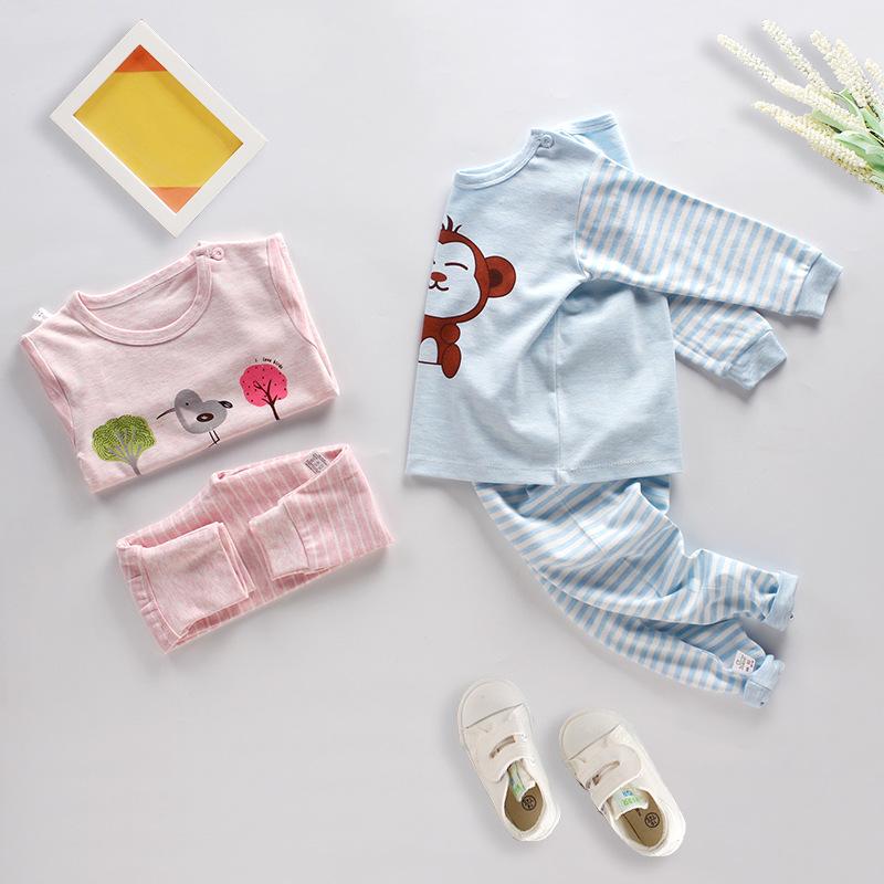 Linkcard Trẻ em mặc quần áo mùa thu bé trai và bé gái Bộ đồ lót trẻ em bằng vải cotton cho bé quần á