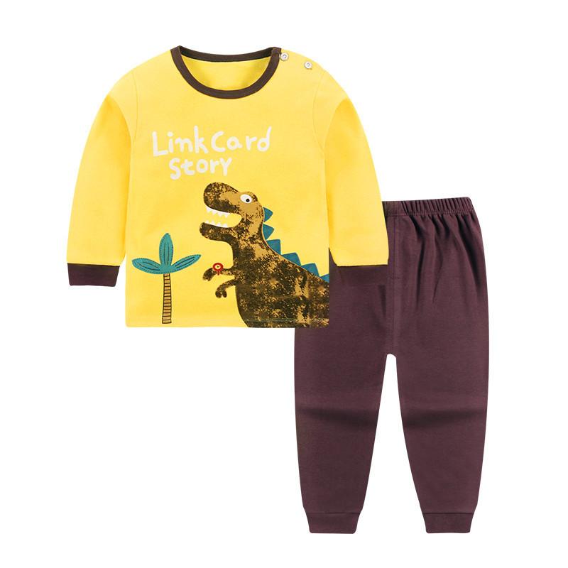 Linkcard Đồ ngủ trẻ em Trẻ em mặc đồ lót trẻ em cotton mùa thu quần áo trẻ em mùa thu quần dài 2018