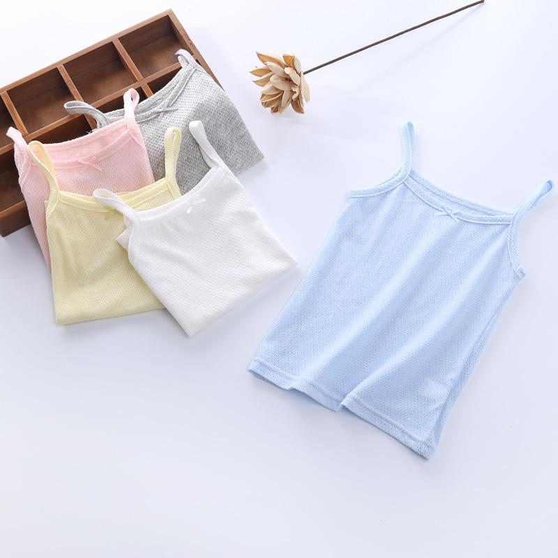 MIBAOBEIBEI Áo ba lỗ / Áo hai dây trẻ em New Candy Girl Camisole Wild Grid Cotton Children Áo yếm ch
