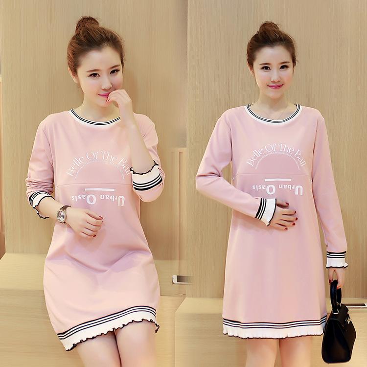 Trang phục bầu Quần áo bà bầu thu đông 2017 in ra quần áo cho con bú mới cộng với nhung dài tay Hàn