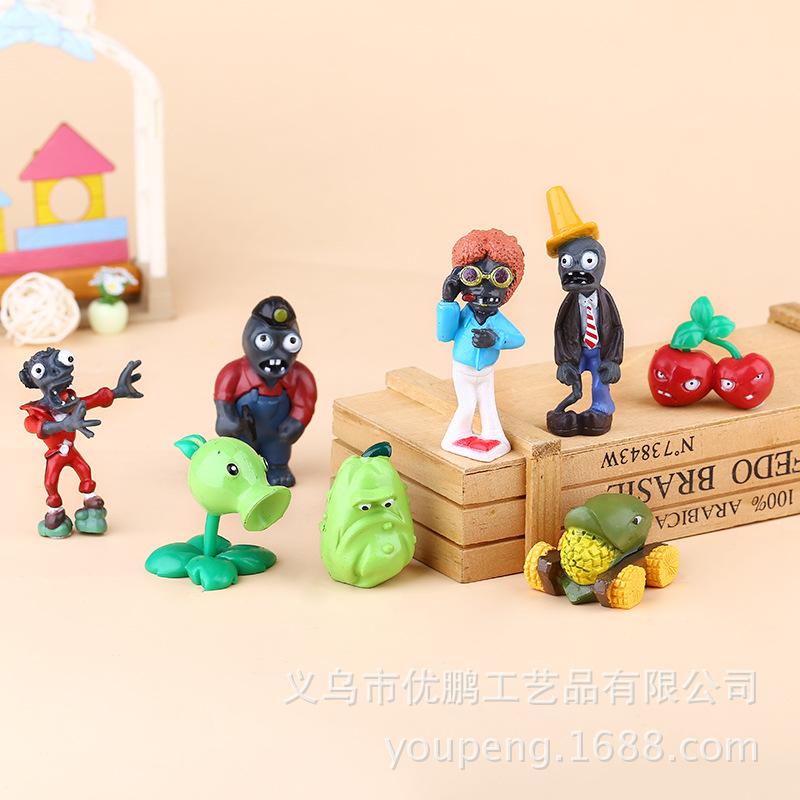 FENGPENG Cảnh quan Mini Cây thế hệ thứ hai vs Zombie Quà tặng trong nhà Micro Cảnh trang trí búp bê