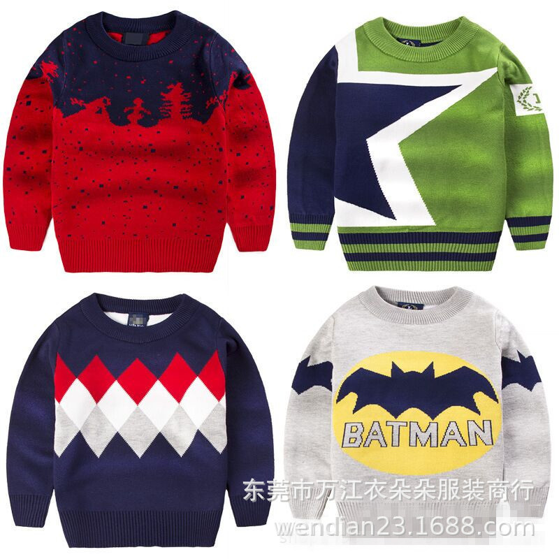 Áo dệt kim trẻ em Mùa thu và mùa đông mô hình dày thời trang phim hoạt hình áo len trẻ em cổ phiếu Q