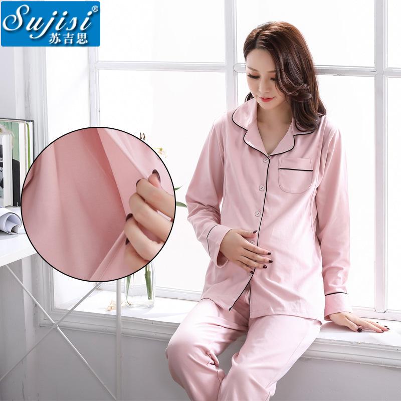 SUJISI Trang phục trong tháng (sau sinh) Mùa xuân và mùa thu nữ đồ ngủ cotton tháng quần áo dịch vụ