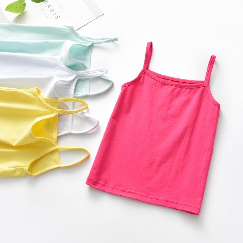 Áo ba lỗ / Áo hai dây trẻ em [Một thế hệ tóc] quần áo trẻ em mùa hè cô gái cotton sling đáy áo nhà m