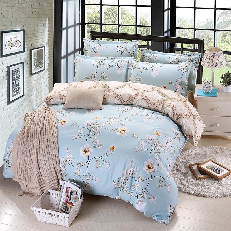 LIANYUGE Thị trường đồ bộ Mai Yijia bộ đồ giường bán buôn cotton giả cotton bốn mảnh bộ AB phiên bản