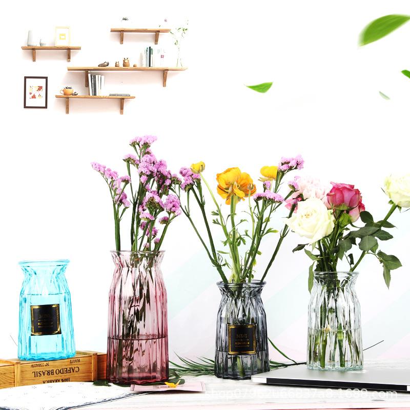 FENGHAO Bình bông Hàng loạt dán nhãn origami bình thủy tinh đa kim cương màu chèn bình hoa trang trí