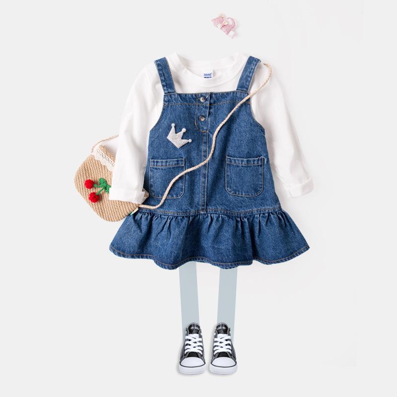 Phong cách Hàn Quốc Cô gái váy trẻ em denim dây đeo quần áo trẻ em mùa thu quần áo nữ bé treo váy 1-