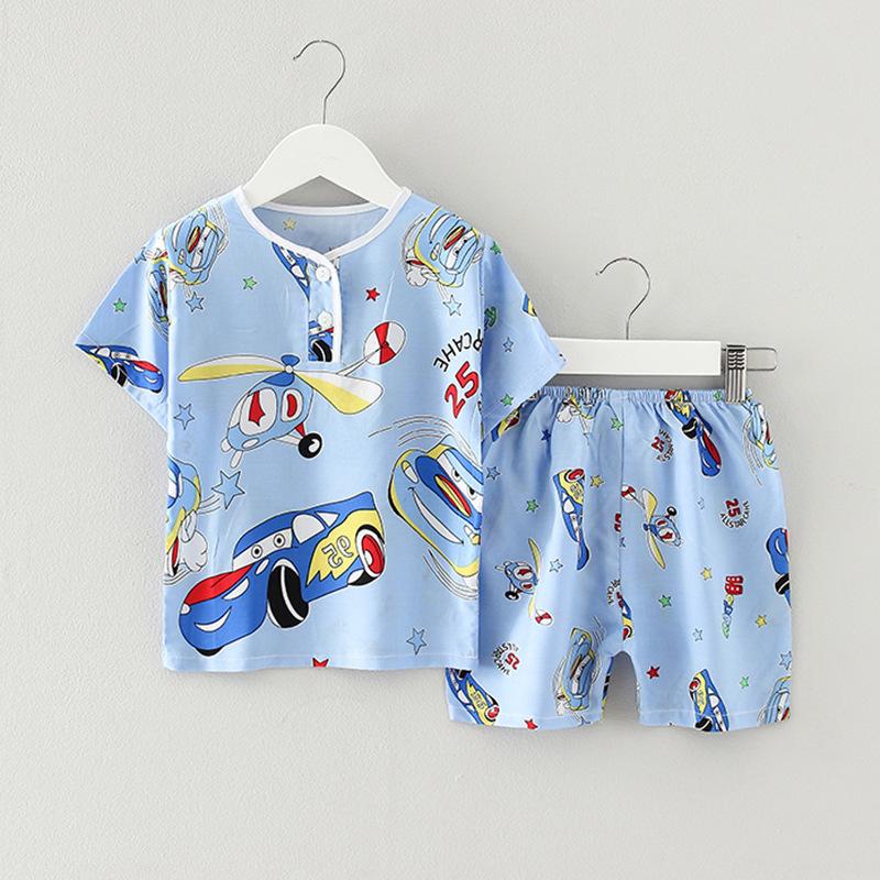 Đồ ngủ trẻ em Nhà trẻ em mặc đồ ngủ cotton ngắn tay phù hợp với mùa hè mở bé trai bé gái cotton lụa