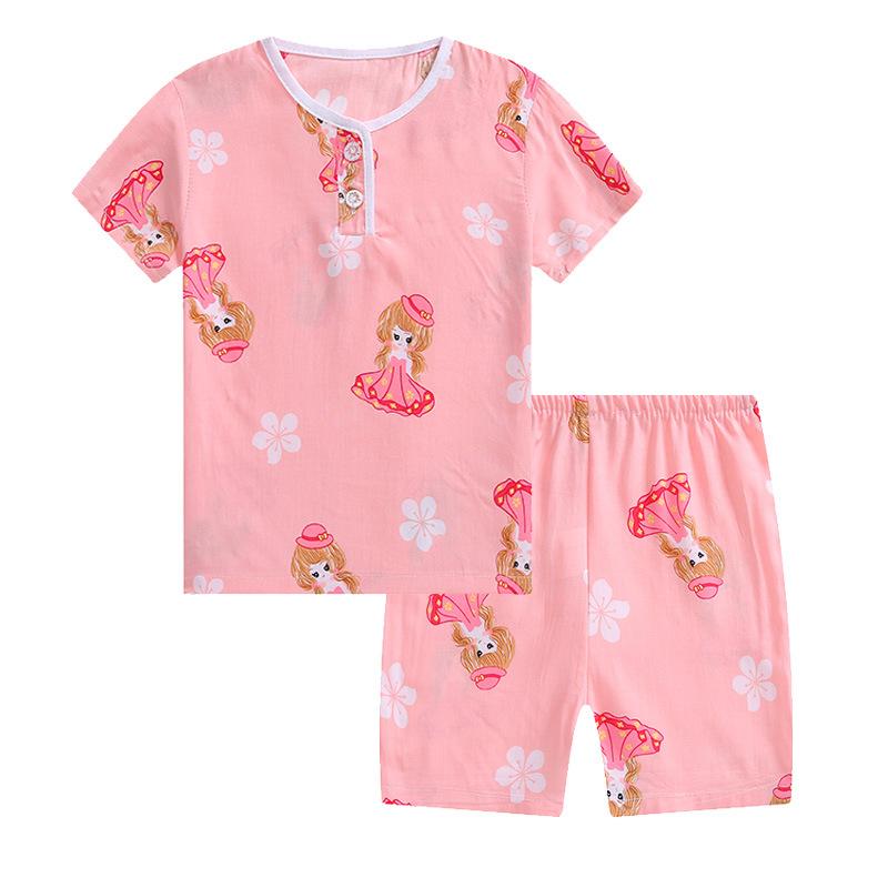 Đồ ngủ trẻ em Bộ đồ ngủ trẻ em hè 2018 cotton mới Bộ đồ ngủ trẻ em ngắn tay phù hợp với dịch vụ mặc