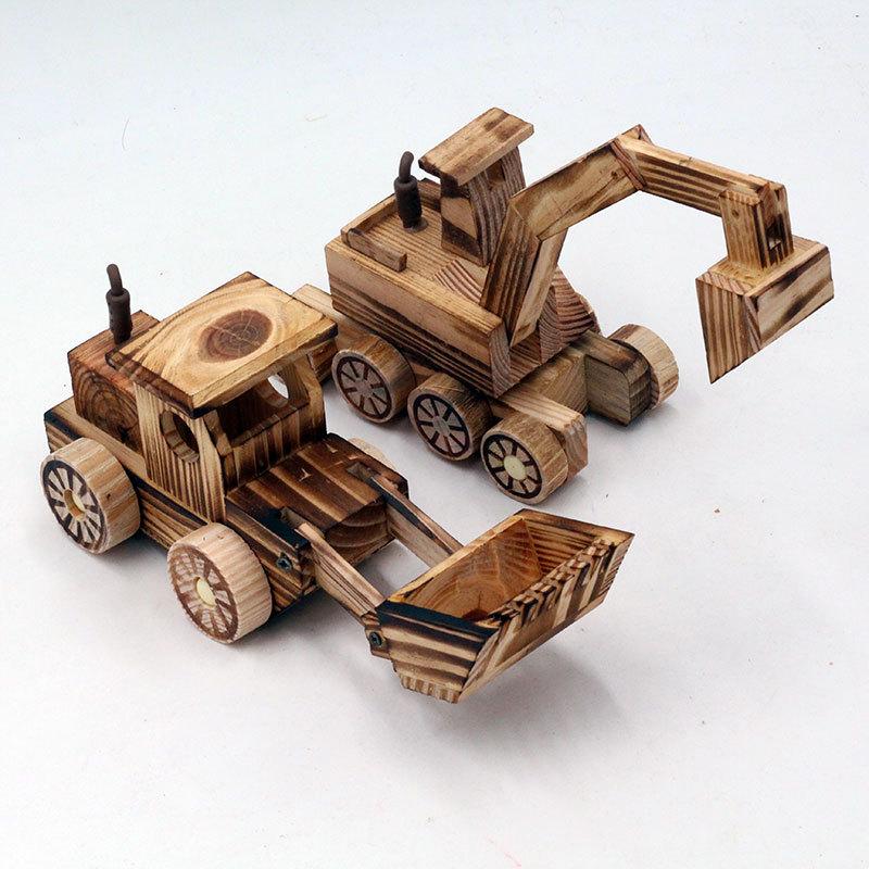 LANZHISEN Đồ trang trí bằng gỗ Nhà máy trực tiếp bằng gỗ mô hình đồ trang trí Trẻ em lửa đồ chơi xe