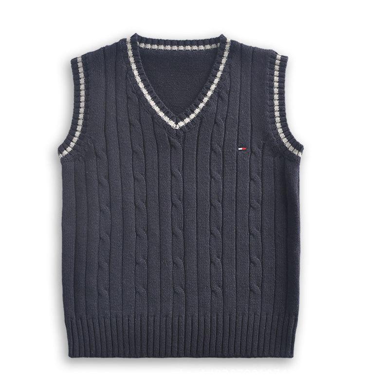 WYLR Áo dệt kim trẻ em Mùa xuân và mùa thu đại học trai và gái mới áo len bé gái áo vest trùm đầu tr