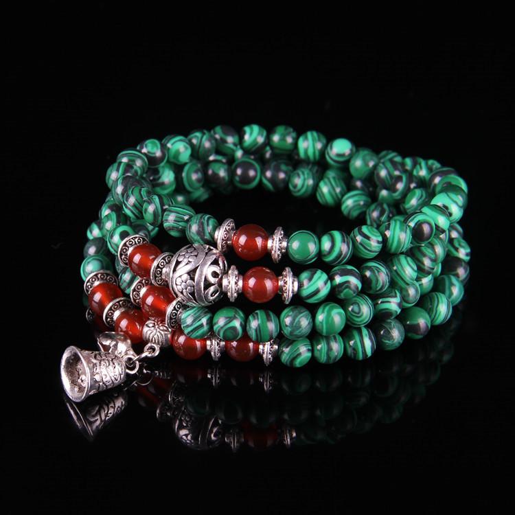 NUOMU Chuỗi phật Vòng tay phật giáo Phoenix Stone tổng hợp 108 hạt với hạt mã não đỏ Ming Wang hạt v