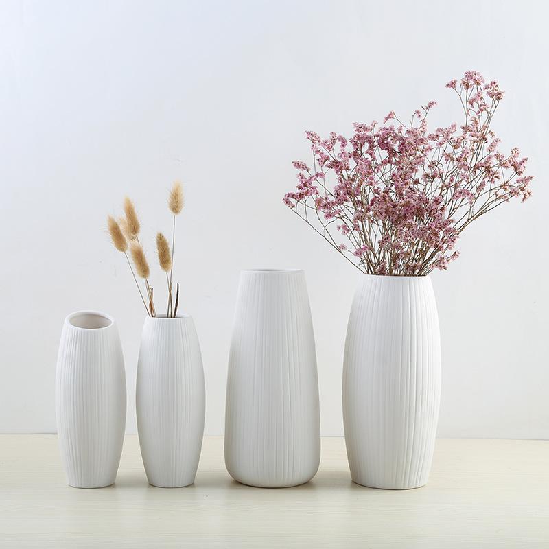 MENGMEIQI Bình bông [nhà máy bán buôn] gốm thủ công Bắc Âu gốm sứ chèn hoa khô trắng trang trí nhà t