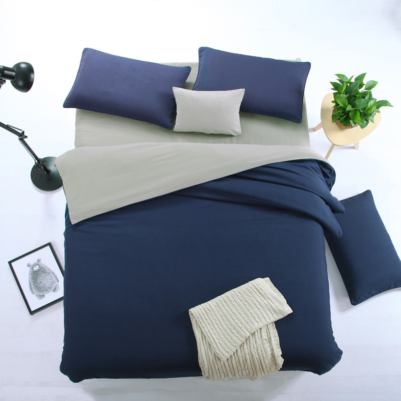 Thị trường đồ bộ Nhà máy trực tiếp màu rắn bốn mảnh đặt đôi chính tả đồng bằng bốn bộ dụng cụ giường
