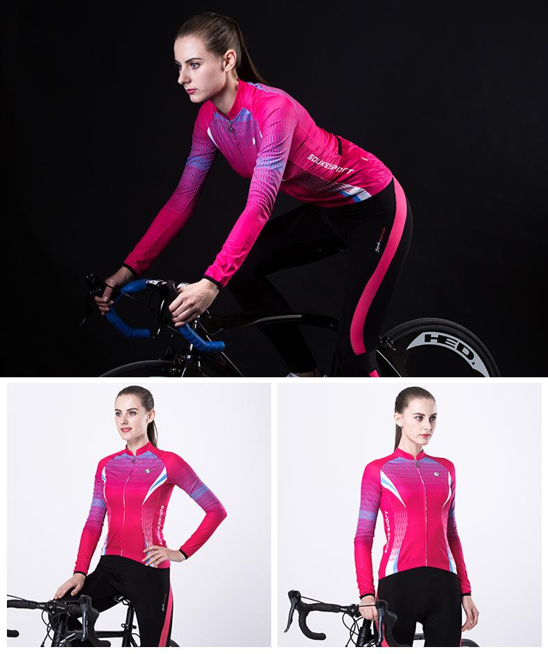 Trang phục Đua xe đạp : bộ đồ thun dài co giãn dành cho nữ .