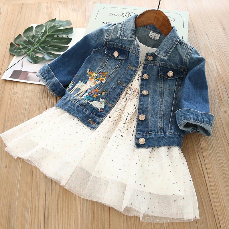 Trang phục Jean trẻ em Hoa Fawn Thêu denim Trẻ em Mùa xuân Áo khoác denim Áo cho trẻ em Bán buôn bu4