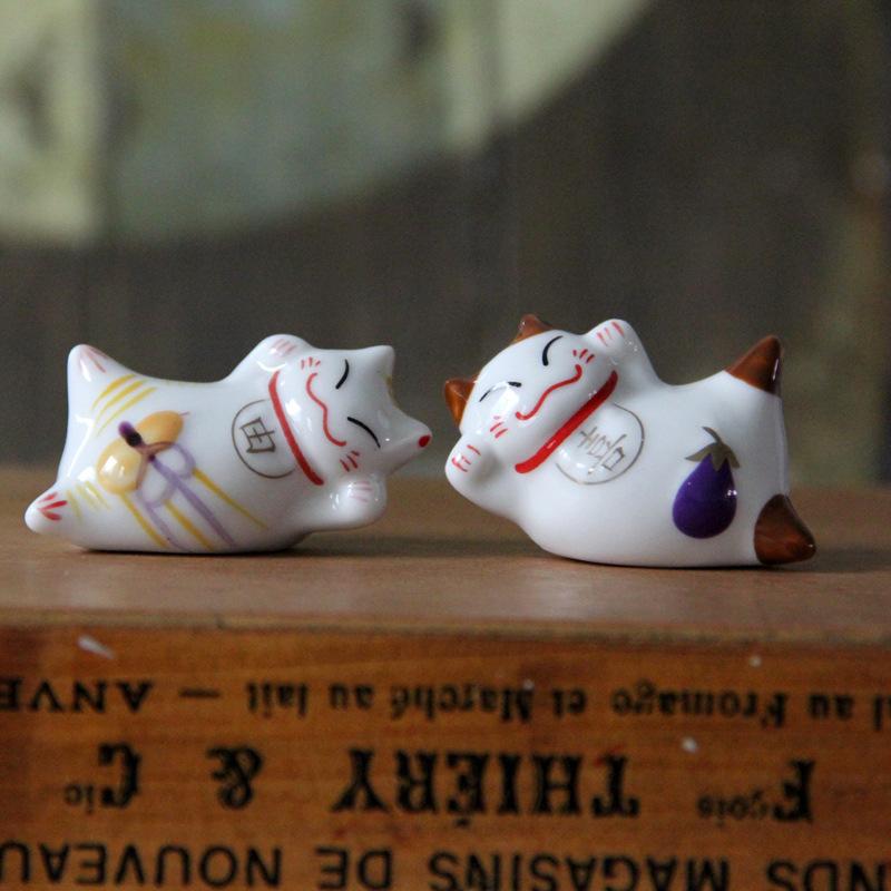 Miss lai Đồ trang trí bằng gốm sứ Người giữ đũa bằng gốm Phong cách Nhật Bản Người giữ đũa mèo may m