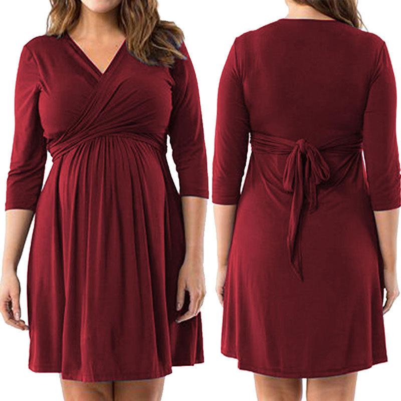 Trang phục bầu Váy bà bầu bán chạy nhất thời trang V-cổ giả váy hai dây giản dị Quần áo phụ nữ XL