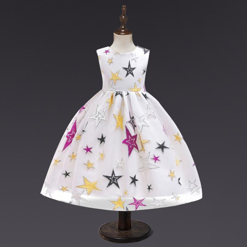 Trang phục dạ hôi trẻ em Trang phục trẻ em màu đen mới của châu Âu và Hoa Kỳ Ngôi sao thêu công chúa