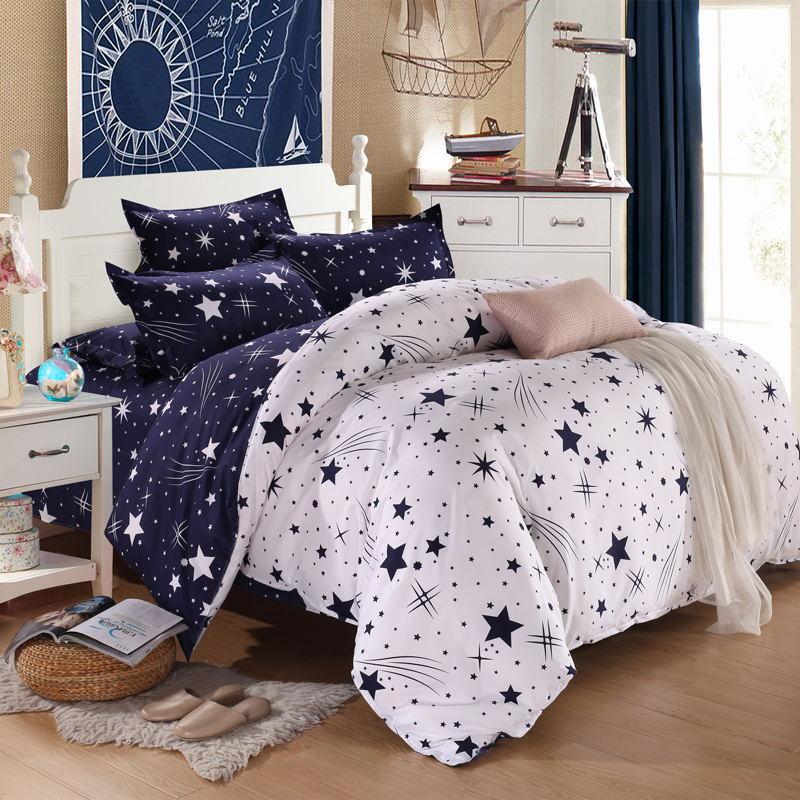 Thị trường đồ bộ Nhà máy trực tiếp đơn giản nhà dệt bộ đồ giường bốn bộ bán buôn thân thiện với da m