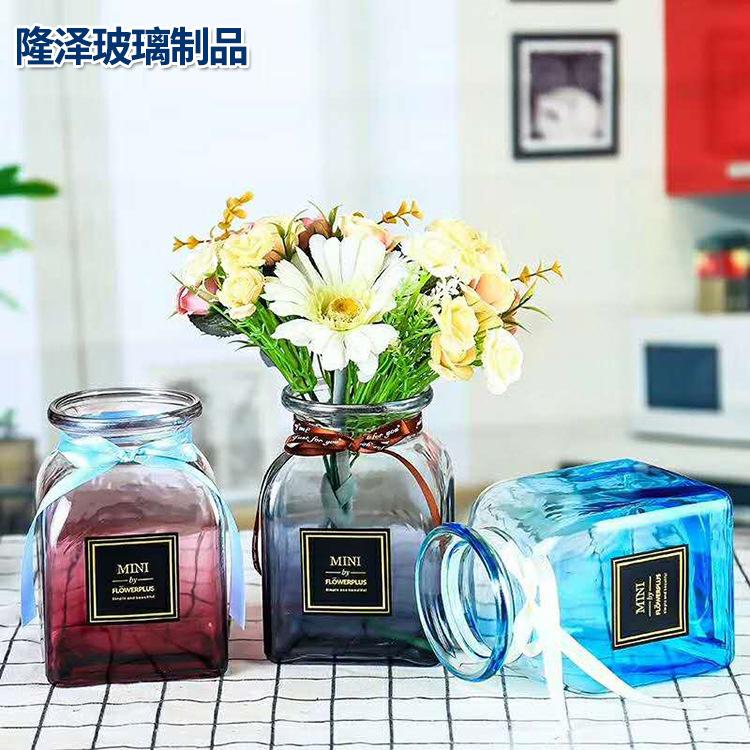 LONGZE Bình bông Đơn giản sáng tạo bình thủy tinh trong suốt vuông vuông màu gradient bình hoa khô m